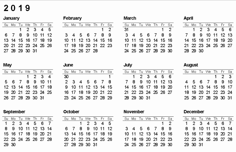 Get 12 Month One Page Calendar Template For 2019