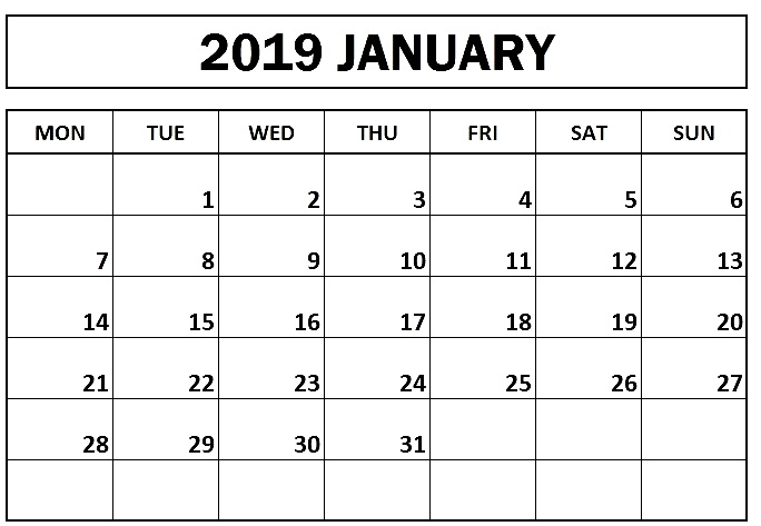 Printable Calendar January 2019 Template - Free Printable Calendar