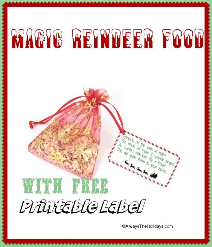 Magic Reindeer Food with Free Printable Label - Fun Reindeer Snack