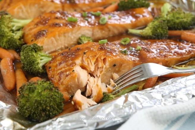 glazed salmon fork