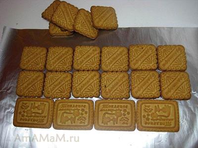 Соотношение квадратного и прямоугольного печенья для торота Творожный домик