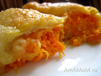 Горячий пирог Меандр с морковной начинкой