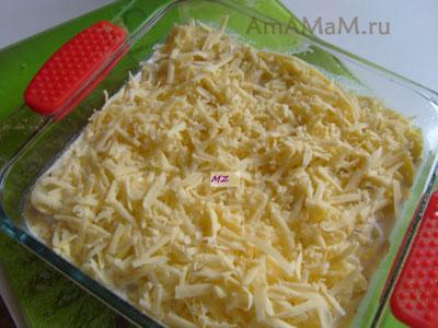 Вариант сборки картофельного гратена перед запеканием