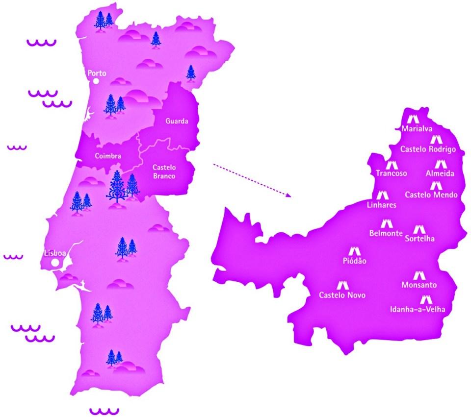 Mapa das Aldeias Históricas de Portugal