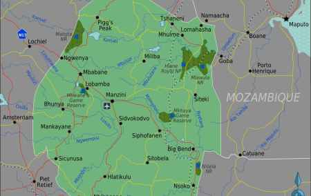 Mapa da Suazilândia