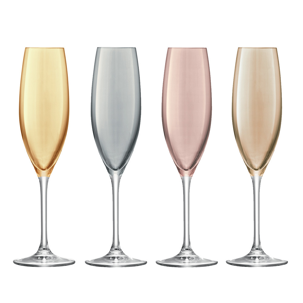 Flute A Champagne Original Polka Assorted Champagne Flutes Set Of 4 Metallic