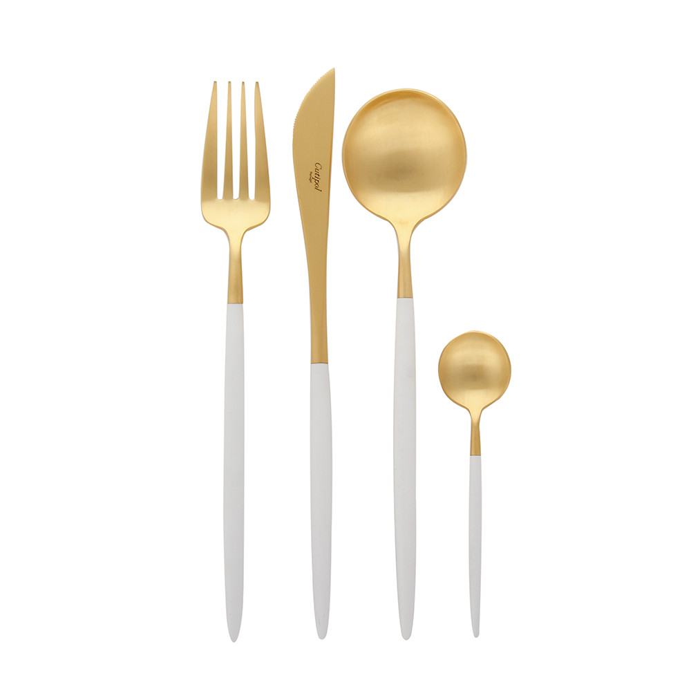 Gold Cutlery Sets Goa Flatware Set 24 Piece Matt White Gold