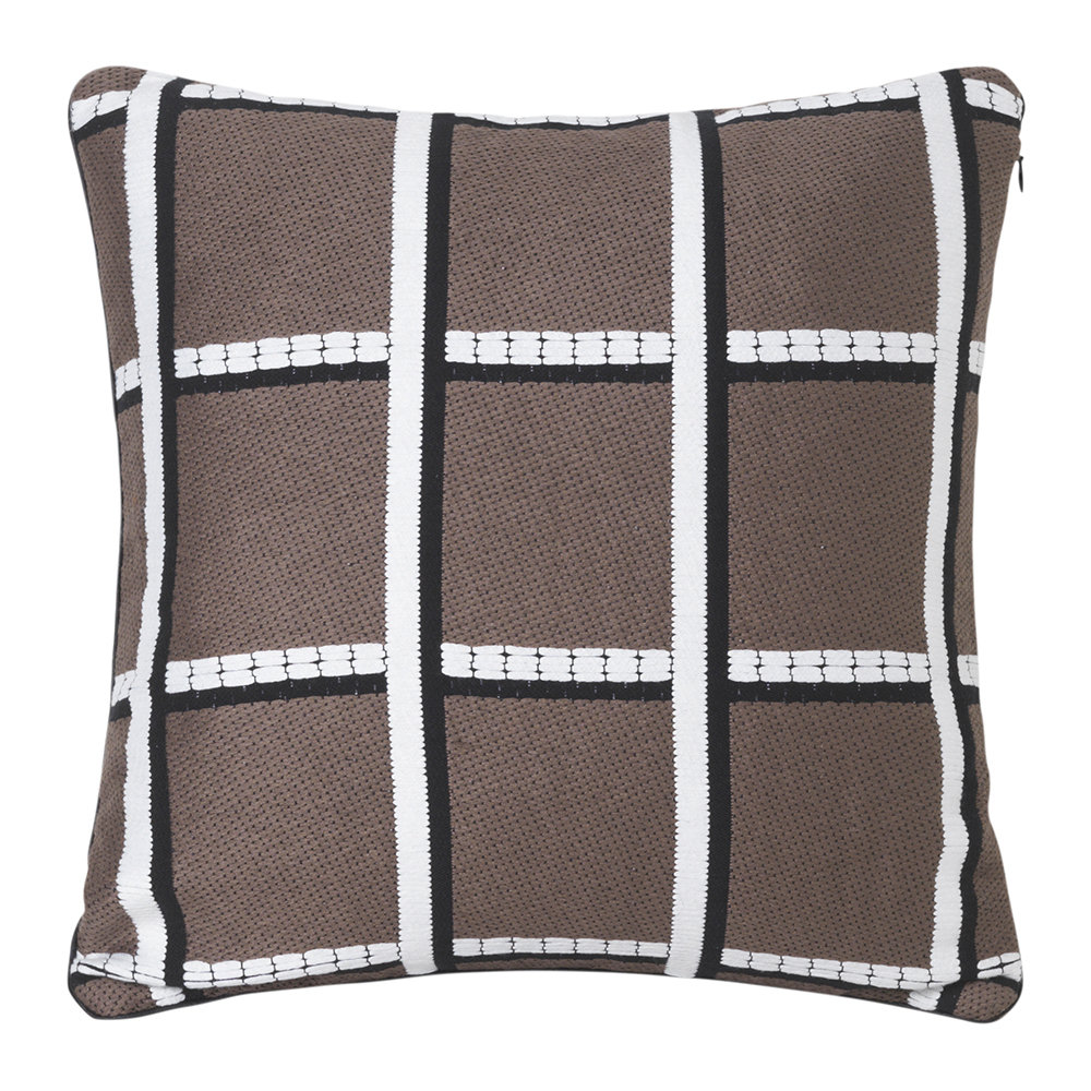 Salon Taupe Checked Salon Pillow 40x40cm Taupe