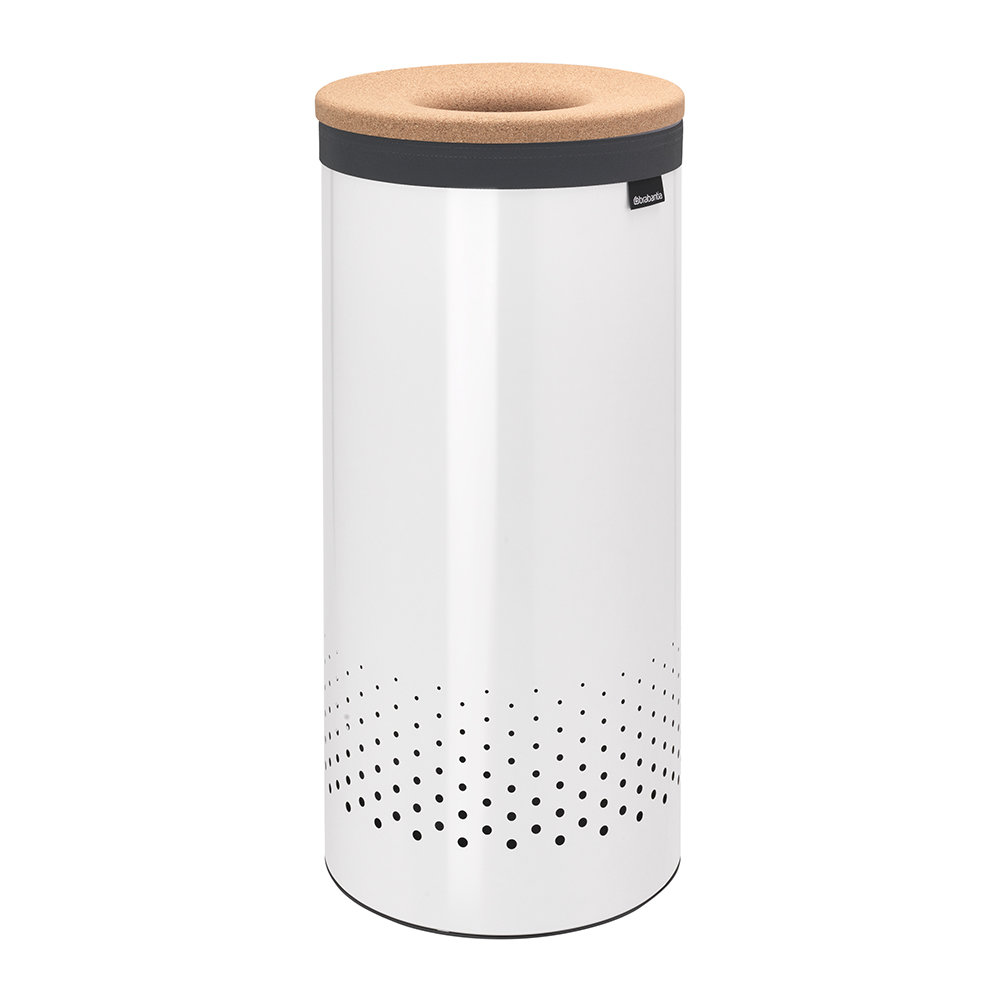 Metal Wash Bin Cork Lid Laundry Bin White 35 Liters