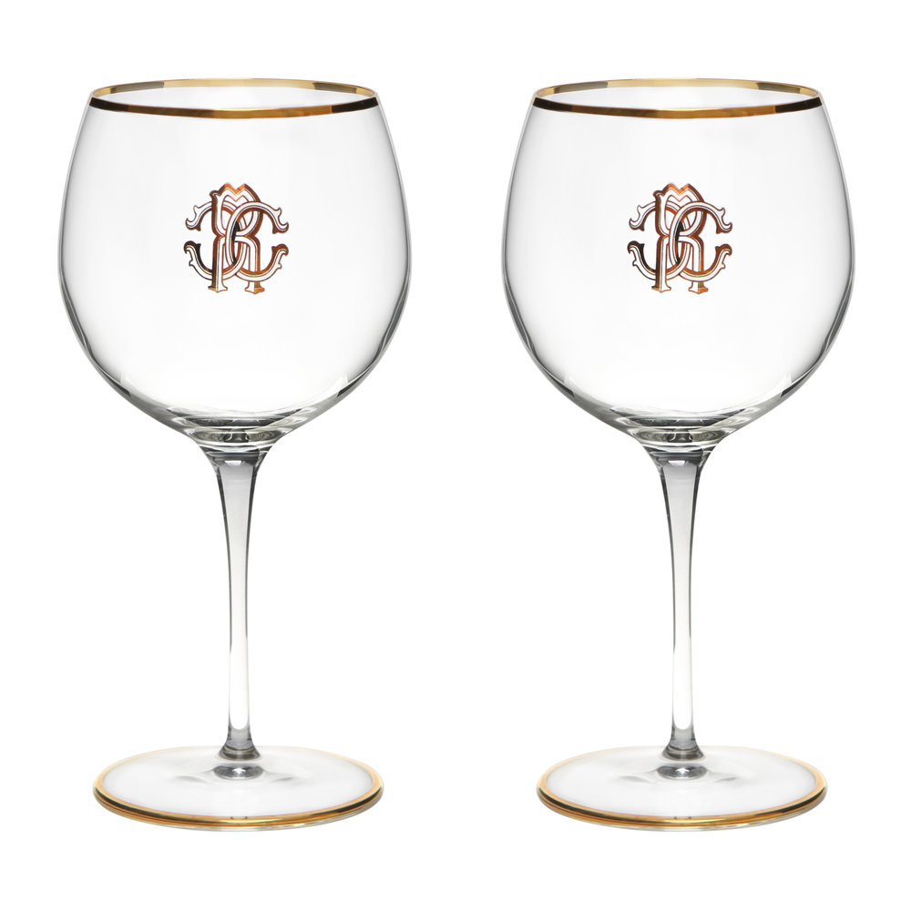 Wine Glasses Monogram Large Wine Glasses Set Of 2 Gold