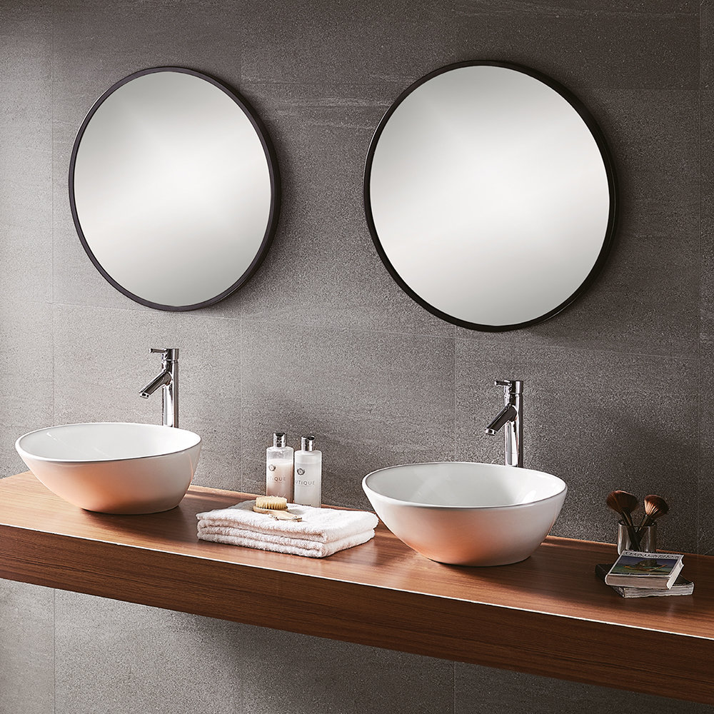 Round Mirror With Black Frame Buy Bathroom Origins Round Framed Mirror 60cm Black