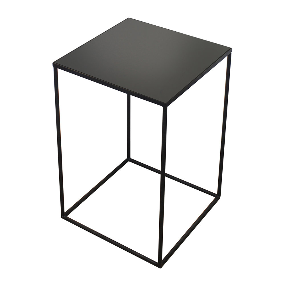 Grande Table Haute Grande Table D Appoint Carrée Miroir Anthracite Mi Haute