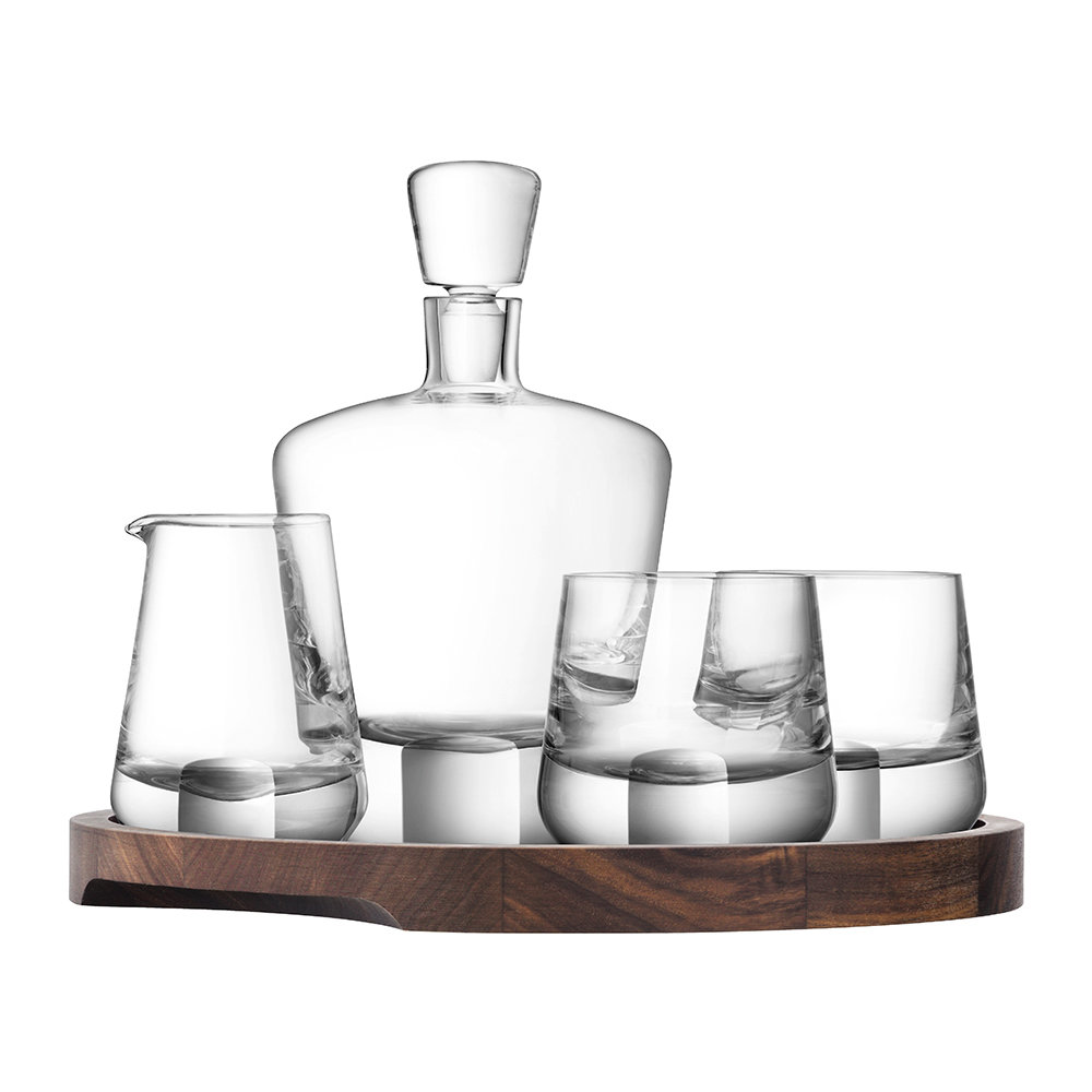 Whiskey Set Whisky Cut Genießer Set Walnuss Serviertablett