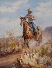 "Debbie Reasoner Original Oil ""Cowboy"""