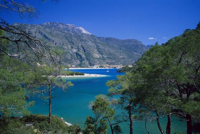 Beach in the Lagoon of Oludeniz, Lycian coast, Turkey