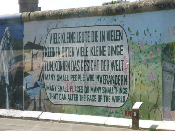 Berlin wall decorated by artist