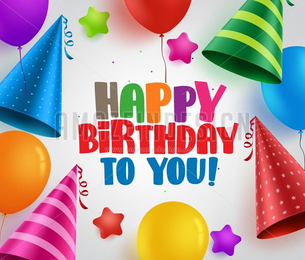 Happy birthday vector greeting card background design with colorful - birthday party design