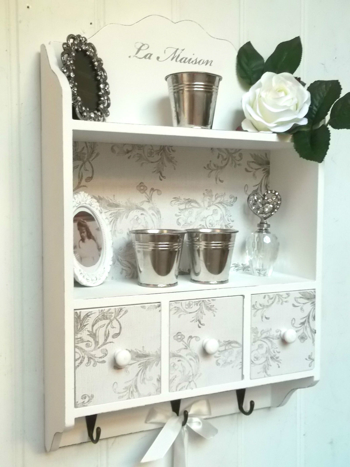 Vintage Chic Home Decor Shabby Chic Wall Unit Shelf Storage Cupboard Cabinet Hooks
