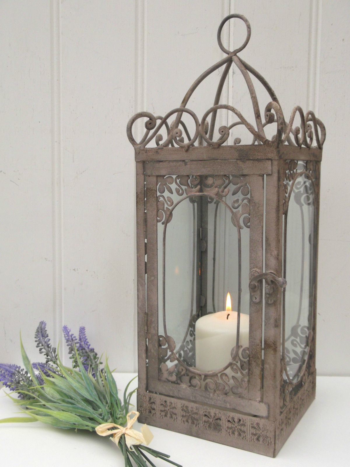 Vintage Chic Home Decor Vintage Style French Grey Large Lantern Candle Holder