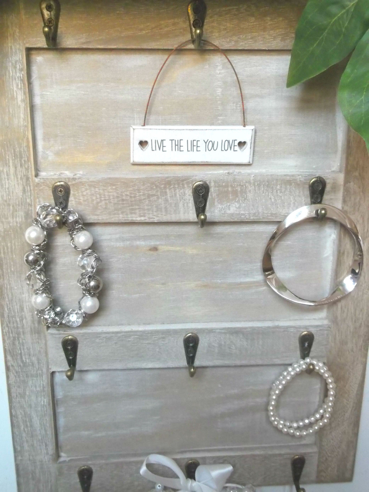 Wooden Key Holder With Shelf Shabby Chic Wall Mounted Key Hooks Holder Rack Jewellery