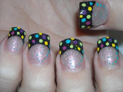 Black French Manicure With Colored Points Amazingnailartorg