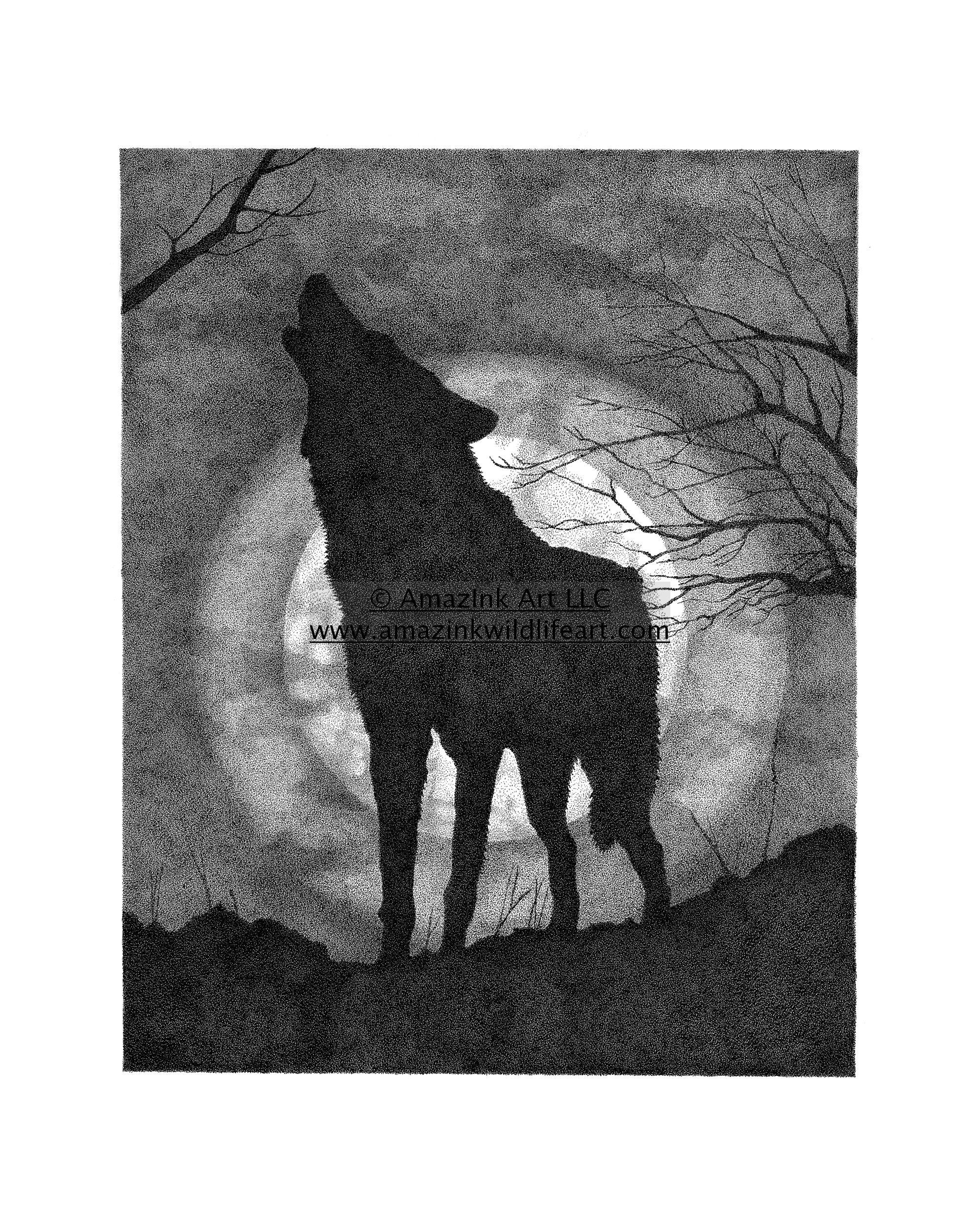 Full Moon Drawing Black And White Drawings Tagged