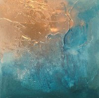 Contemporary canvas art | Canvas artwork: 'Teal/Gold Abstract'