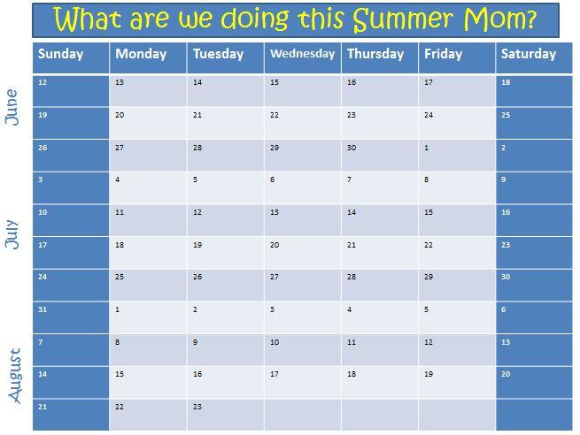 2011 Kids Summer Planning Template Amazzicolors - kids calendar template
