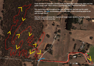Mt Torrens Township track layout for Giant XCO Series Race 2, September 15th 2013