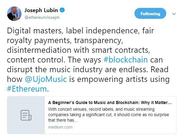 Ethereum ETH and Blockchain sets its tune in sync to empower music