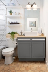 a builder grade bathroom transformation with Lowes ...