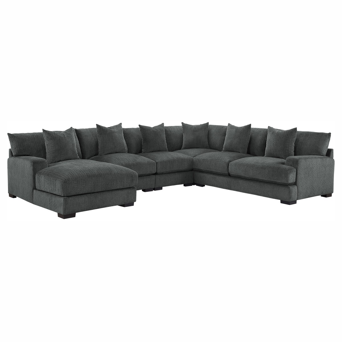 He 9857dg 5lc2r 5 Pc Worchester Dark Gray Chenille Fabric Modular Sectional Sofa Left Chaise