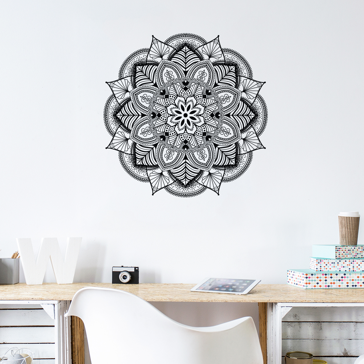 Pochoir Mandala Mural Sticker Bohème Mandala Design Stickers Art Et Design