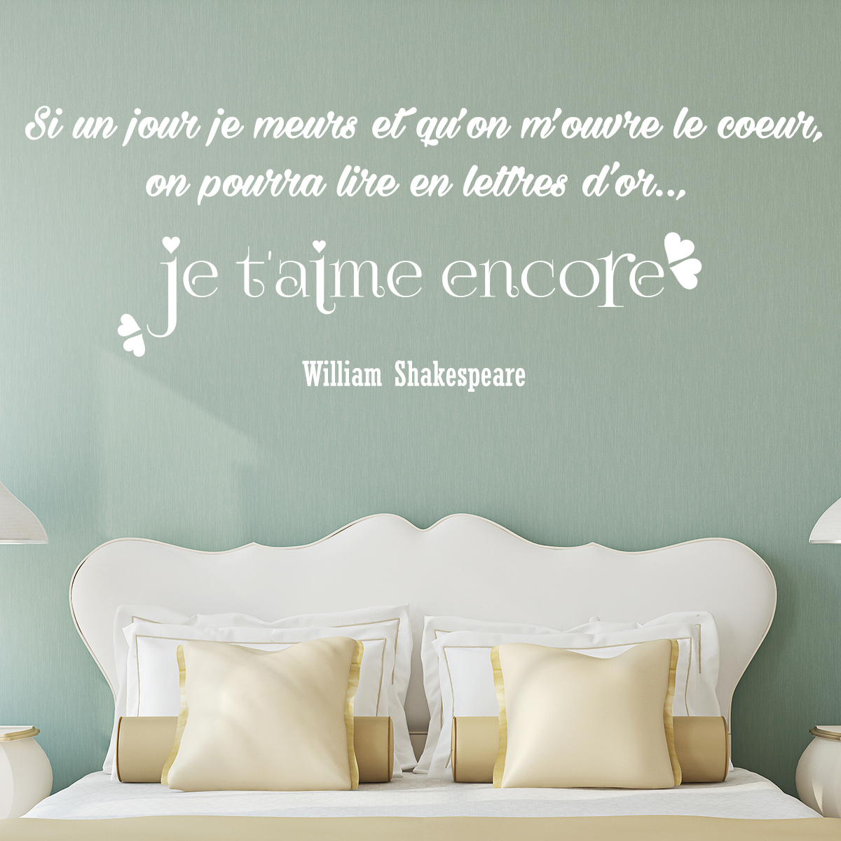 Autocollant Sol Sticker Citation Je T'aime Encore William Shakespeare
