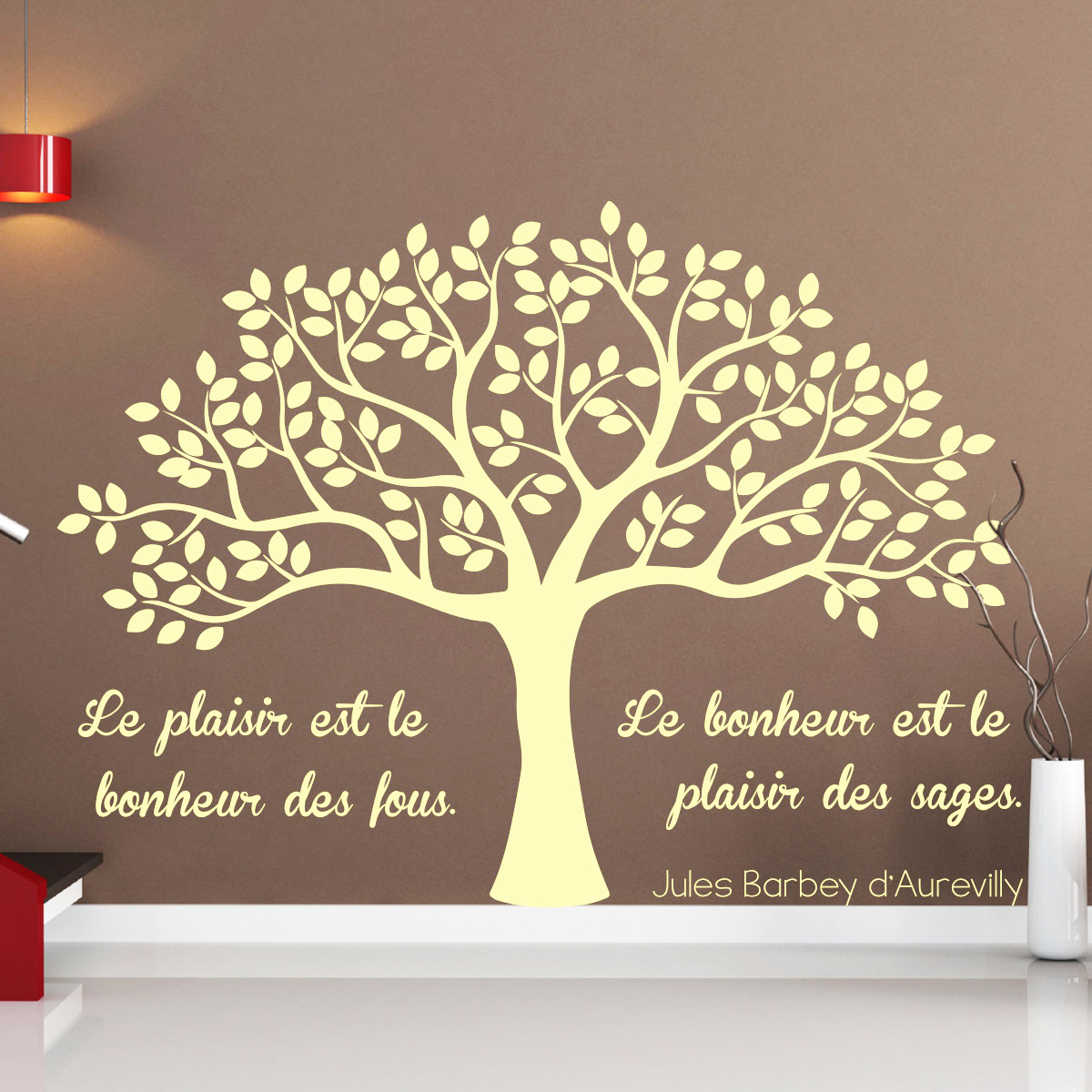 Scandinave Decoration Sticker Citation Le Plaisir Et Le Bonheur – Stickers