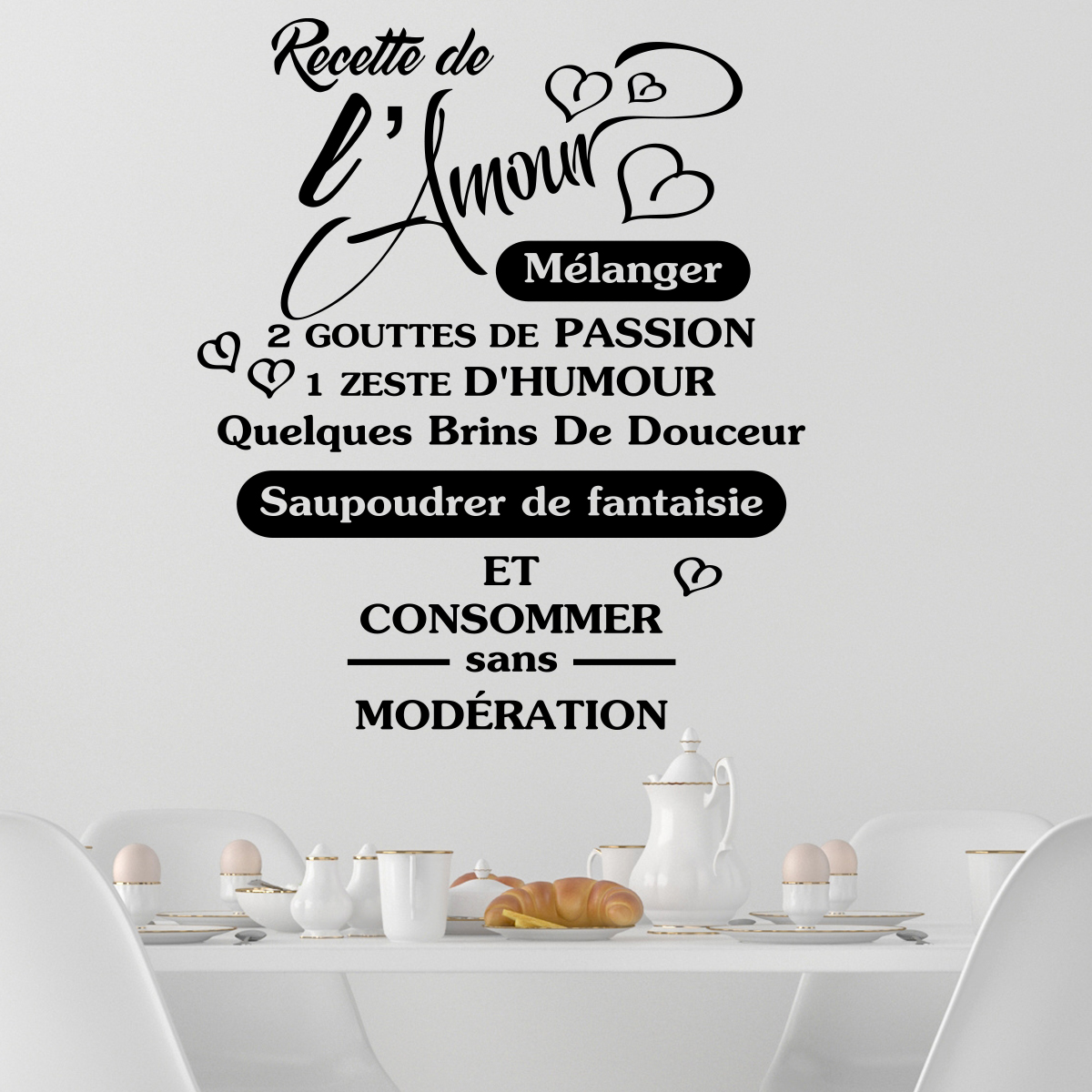 Decoration Murale Citation Sticker Citation Recette De L 39amour Stickers Citations