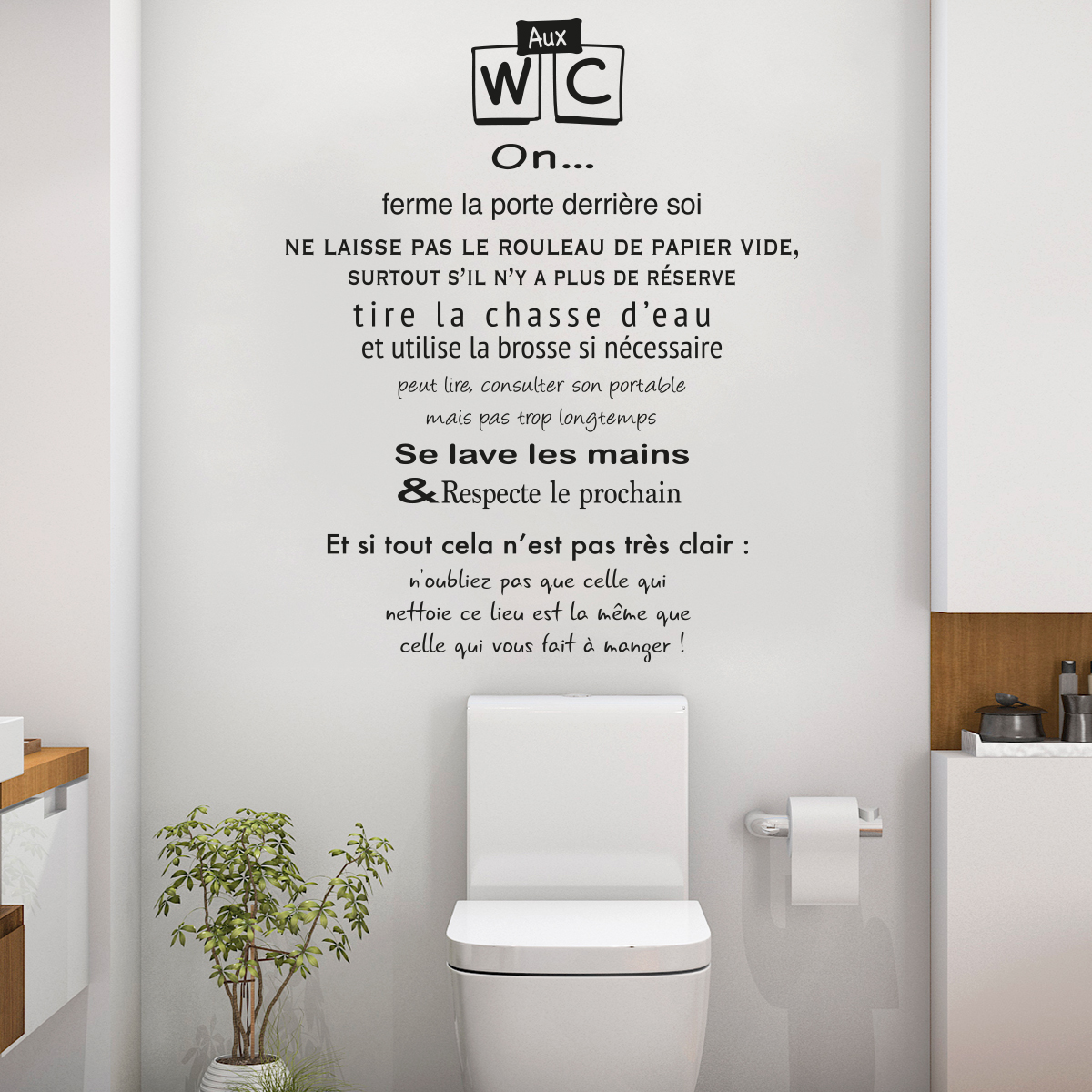 Decoration Murale Citation Sticker Citation Toilettes Règles Des Wc Stickers