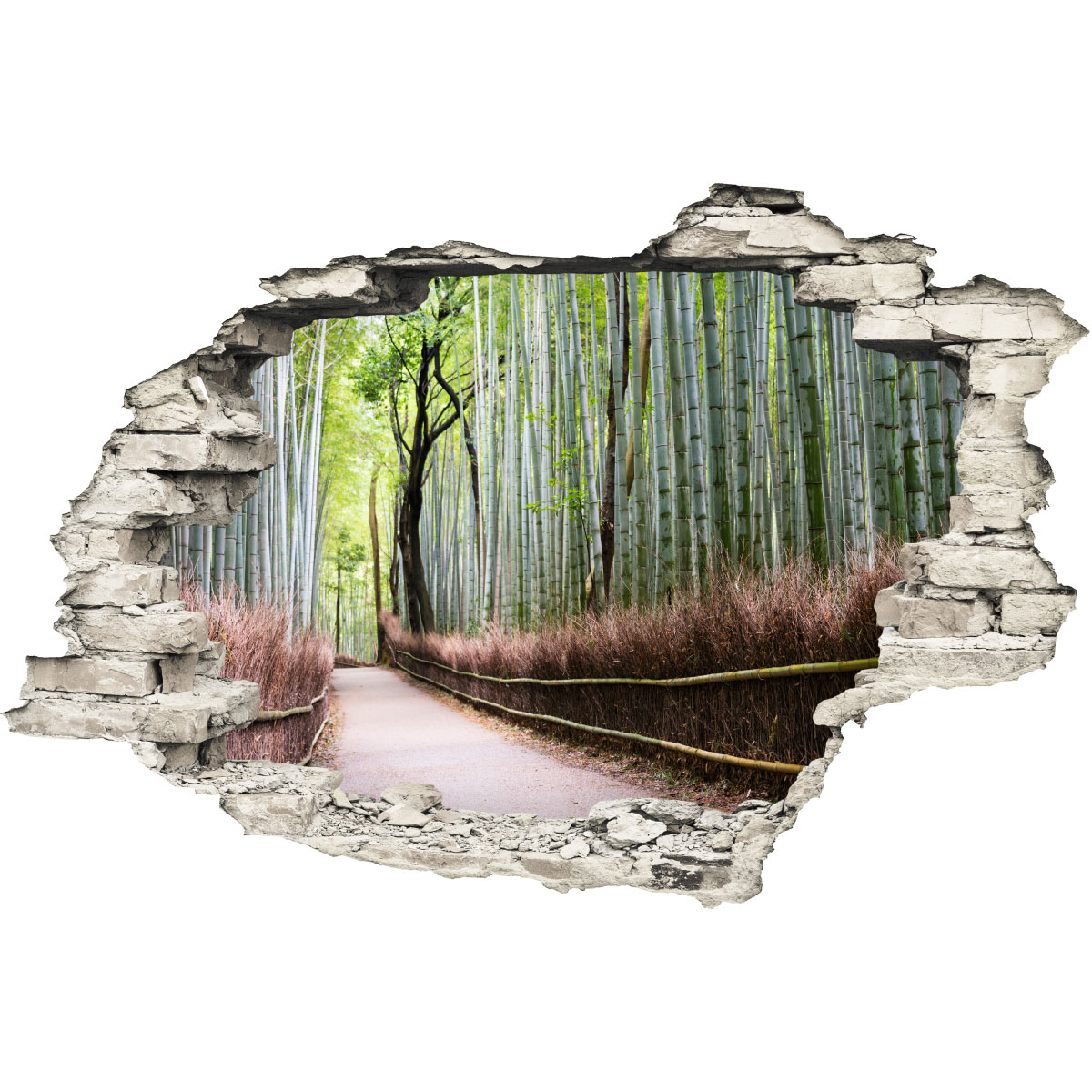 Trompe L Oeil Salon Sticker Trompe L 39œil Forêt De Bambou Stickers Nature