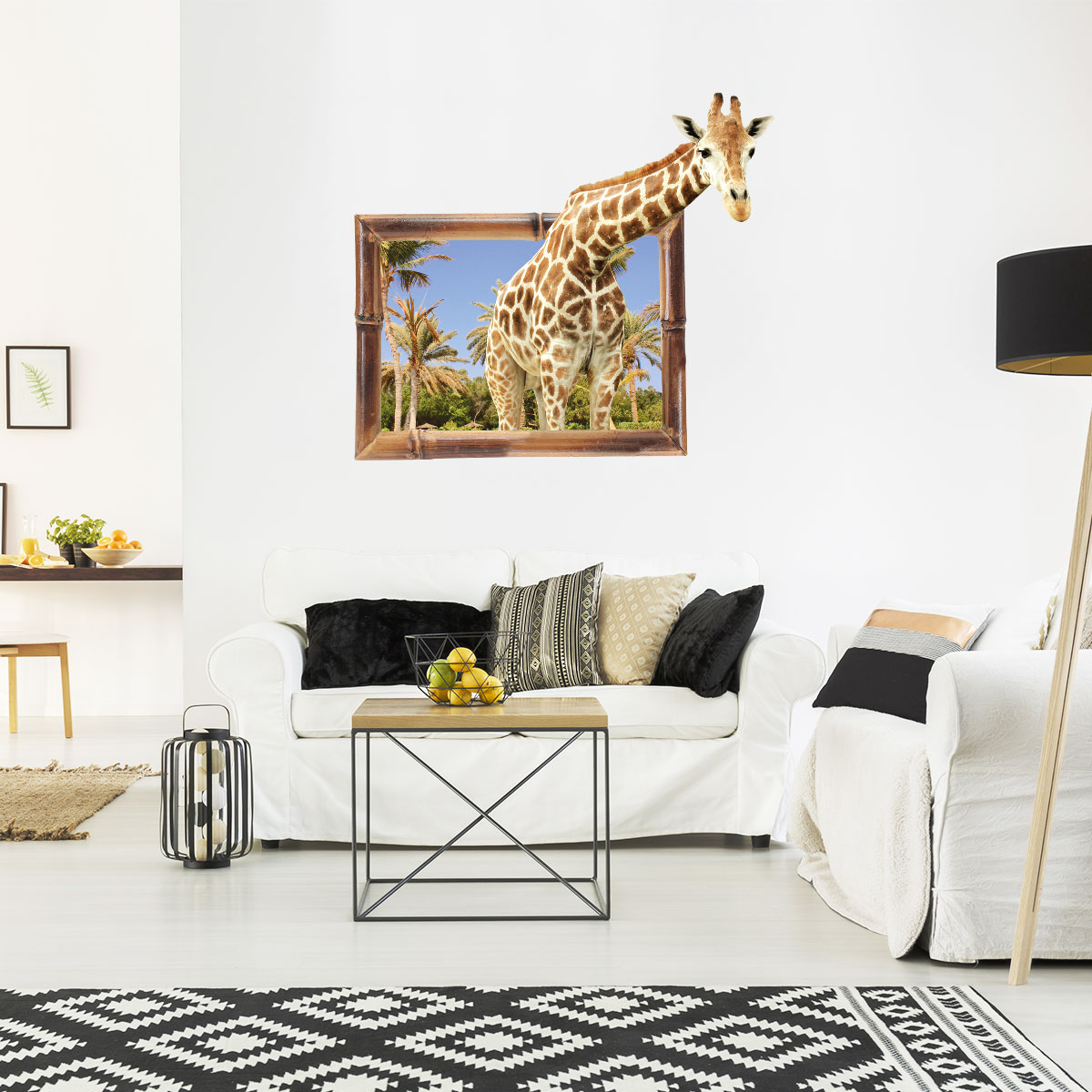 Trompe L Oeil Salon Sticker Trompe L 39oeil Animaux Girafe Stickers Salon