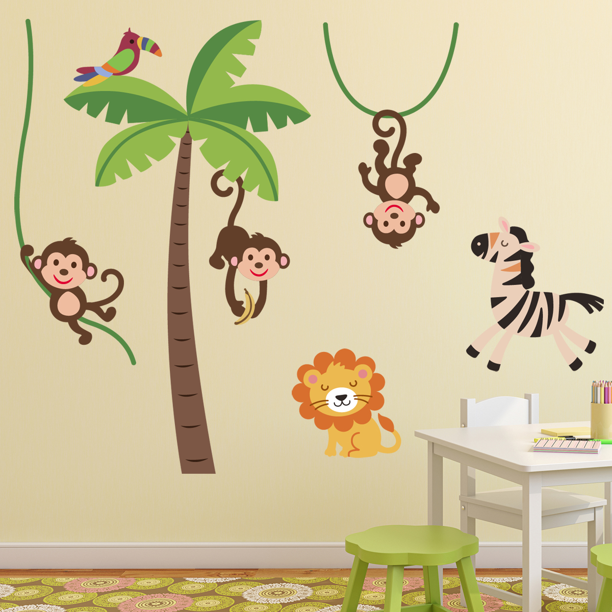Deco Chambre Savane Stickers Muraux Animaux Sticker Jungle Heureux