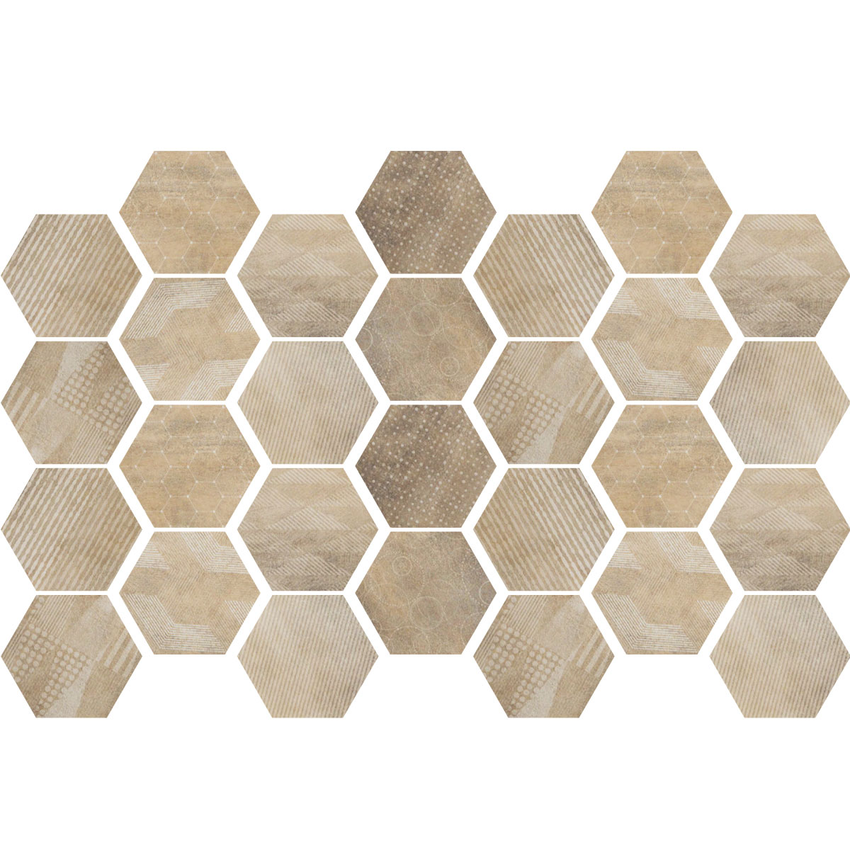 Carreaux De Ciment Hexagonal Stickers Carrelages Hexagones Bois Patiné Salle De Bain