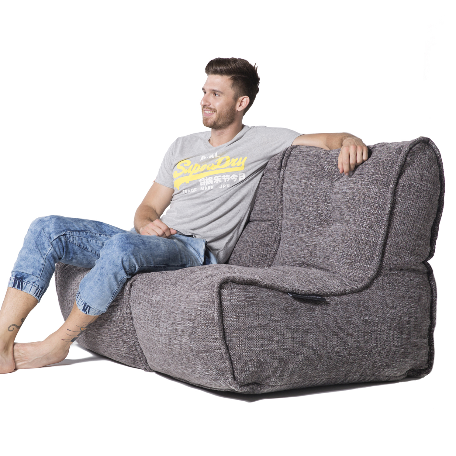 4 Seater Sofa Australia 2 Seater Gery Sofa Designer Bean Bag Couch Grey Fabric
