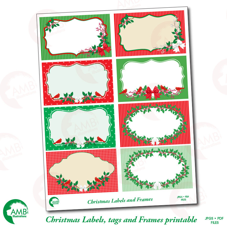 Christmas Clipart, Christmas Digital Tags, AMB-1500 AMBillustrations
