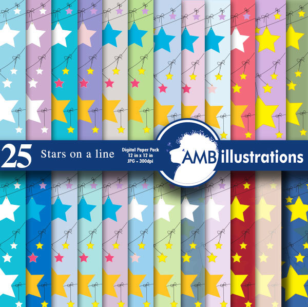 Stars on a clothesline digital paper, Multi-colored Star patterns