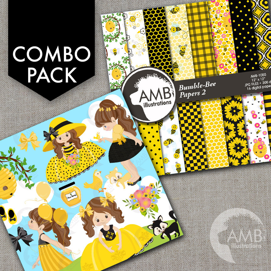 COMBO Bumble Bee Clipart and Digital Papers, Little Girl honeybee