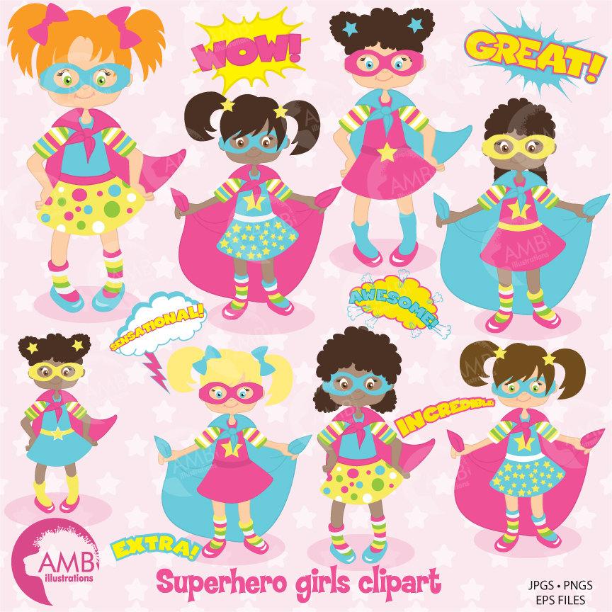 Superhero clipart, Super Girl Clipart in Pinks, Super Hero Girls