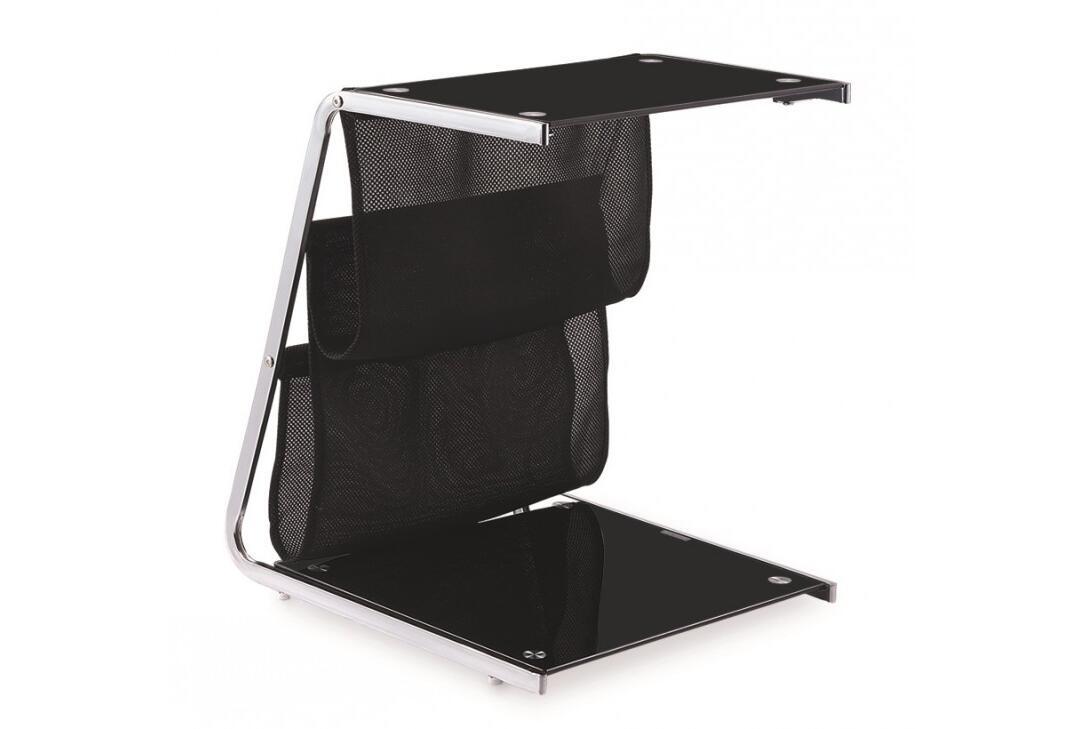 Cheap Price Furniture Black Painting Tempered Glass Chrome Cheap Price Side Table By