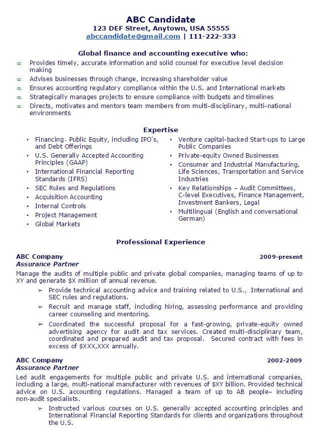Public Accounting Partner Sample Resume AmbrionAMBRION - sample accounting resumes