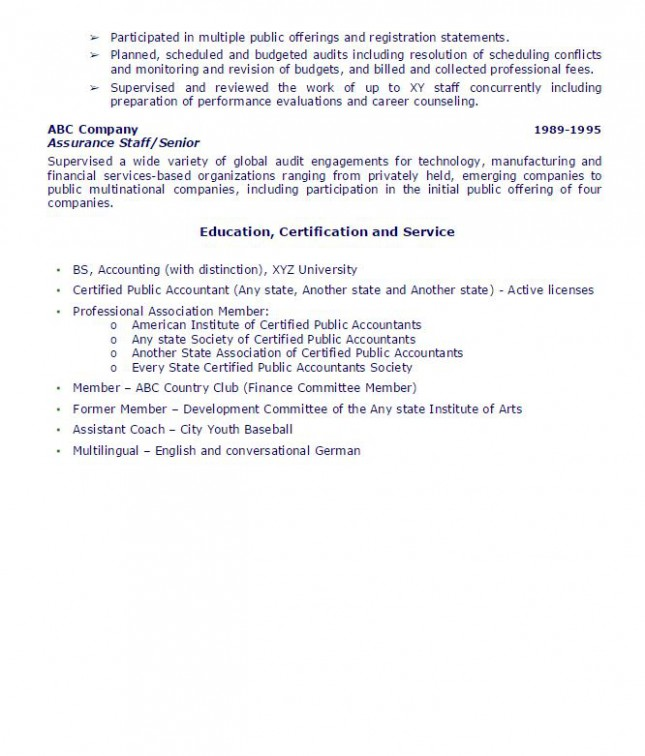 Public Accounting Partner Sample Resume AmbrionAMBRION
