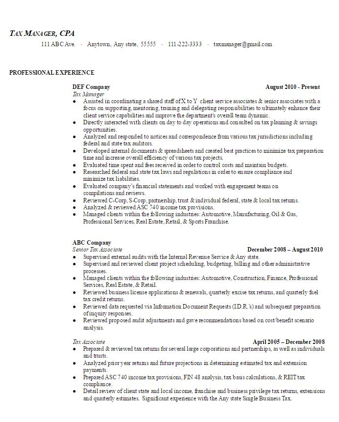 Tax Manager Sample Resume AmbrionAMBRION - Minneapolis Executive - Executive Sample Resumes